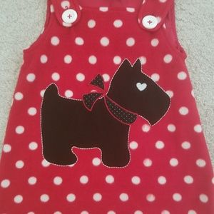 Fleece Scotty Dog Pinafore Dress Holiday 2T